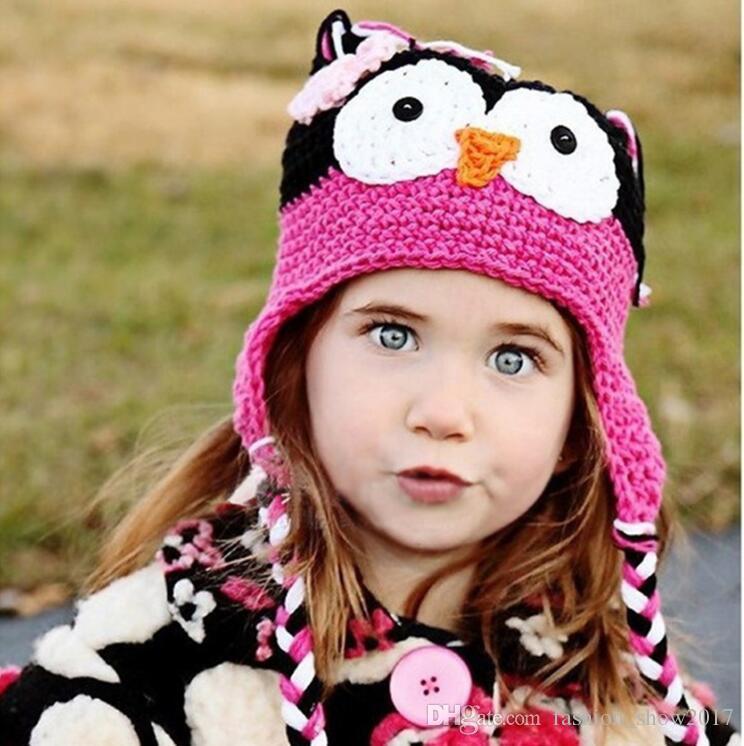 Cappello da civetta con paraorecchie Simpatico cartone animato Infant Toddler Fatto a mano a maglia all'uncinetto Berretto morbido Fotografia Puntelli Tappi animali