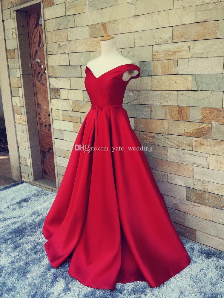 2017 Proste Dark Red Prom Dresses V Neck Of The Ramię Ruched Satin Custom Made Backless Corset Suknie Wieczorowe Formalne Suknie Prawdziwe Obraz