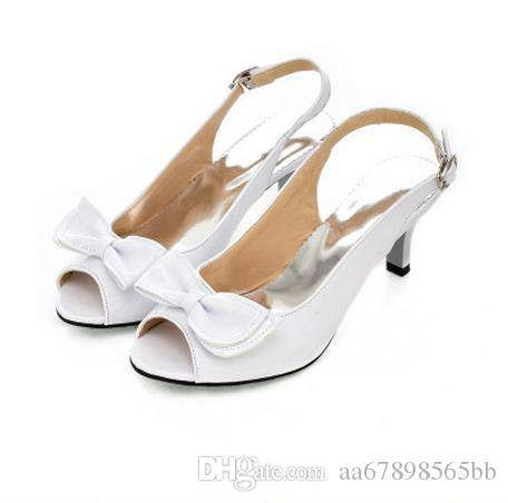 Sexy Ankle Wrap Women Sandals Summer Ladies Open Toe Med Heel Bow Shoes  Girls Elegant Female Candy Color Leather Sanadal Balck White Yellow  Platform Sandals ... c4c1b359cf