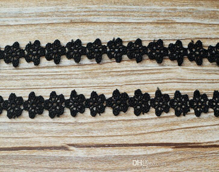 "15 Yard Width 0.5"" Black Hollow Flower Shape Lace Cotton Fabric Trim For DIY Bridal wedding Doll Cap More Colors"