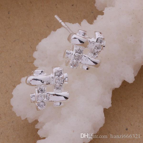Moda fabricante de joyería 40 piezas de una gran cantidad de rejilla con aretes de diamantes oreja 925 joyas de plata de ley pendientes de la moda del brillo de la fábrica
