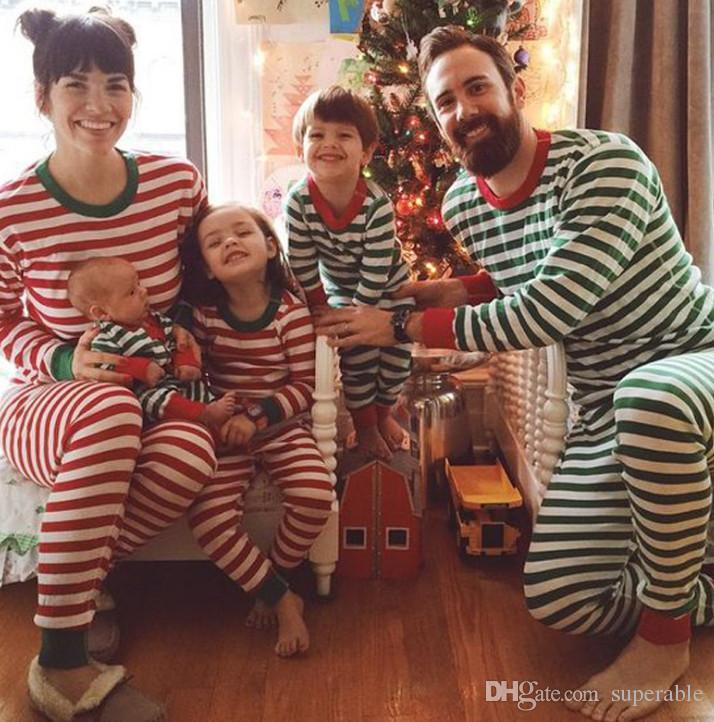 f173ed19d2 2018 Xmas Kids Adult Family Matching Christmas Deer Striped Pajamas  Sleepwear Nightwear Pyjamas bedgown sleepcoat nighty Green Red AA82