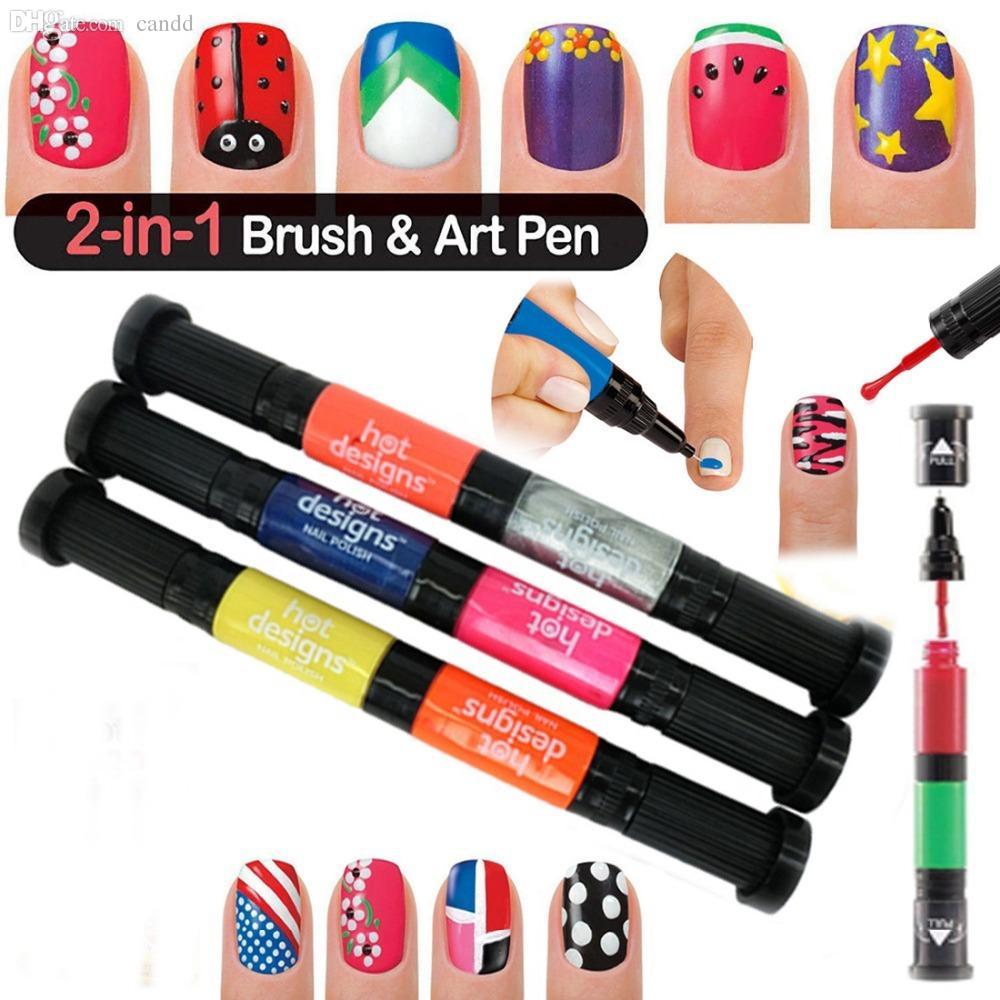 Wholesale-x 3D Nail Art Pens Fashion UV Gel Acrylic Colour Paint ...