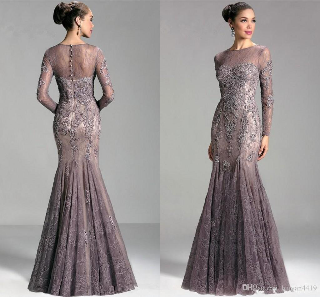 Janique 2018 Arabic Dubai Elegant Long Sleeves Evening Dresses Jewel Neck Illusion Beaded Lace Mermaid Long Sleeves Party Prom Gowns Vestido