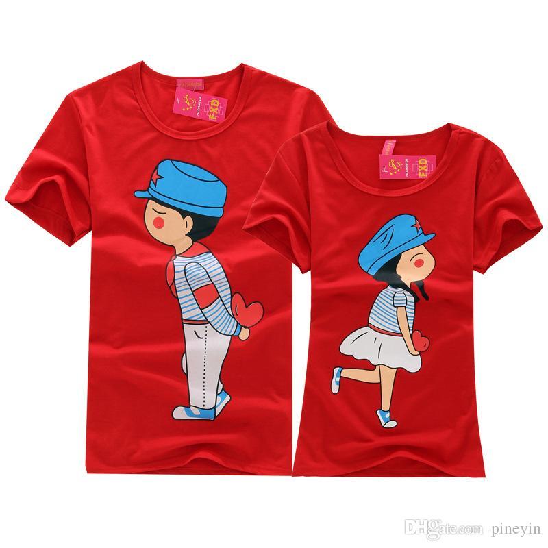 Cartoon Couple Design Tees Shirts Couple Tee Tops T Shirt: 20 Styles Choose Cartoon Korean Lovers Summer Original