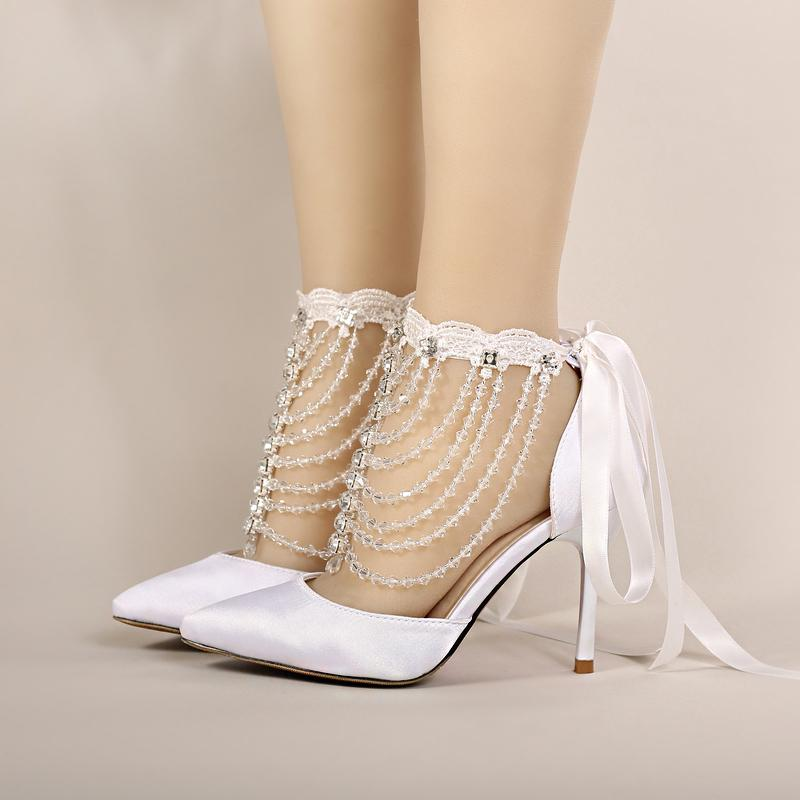 2016 Summer High Heel Bridal Shoes White Satin Crystal Wrist Strap Sandals  Women Banquet Wedding Shoes Pointed Toe Handmade Lace Bridal Shoes Large  Womens ... e23f58967278