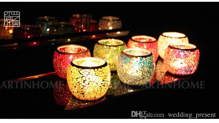 Düğün Parti Mozaik Mumluk Iyilik Renkli Noel Mumluk Romantik Süsler Marka Yeni Doğum Günü / Düğün Hediyeleri