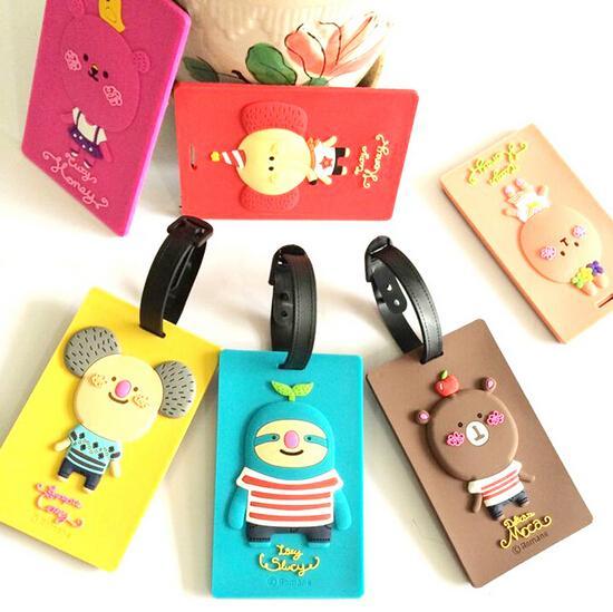 2017 Kawaii Cartoon Luggage Tags Card Cover Plastic Cover Animal ...