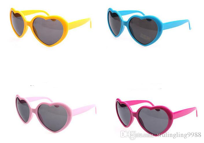 Fashion Love Heart Shape Multicolor Sunglasses Plastic Party Glasses Frame UV400 Cheap Sun Glasses