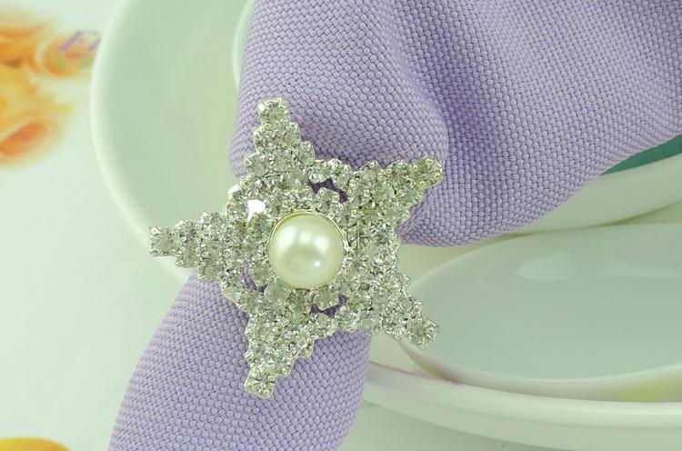 Anneaux langes pour mariage Lucky Stars strass Perles Anneaux serviette Party Favor de mariage Décoration de table Accessoires Whosale Anneaux serviette