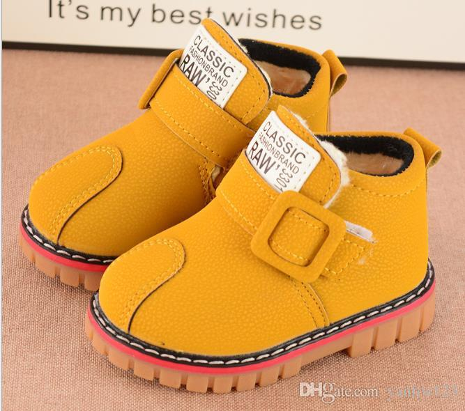 US size: 5.5-12 Children Boots Winter Bottom Gril Boots Children Cotton Shoes Thickening Rubber soles kids shoes Girls > Boots