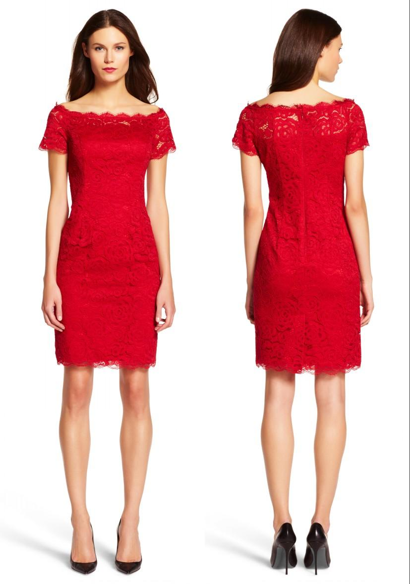 Red Short Sheath Fitted Lace Off Shoulder Homecoming Dresses ...