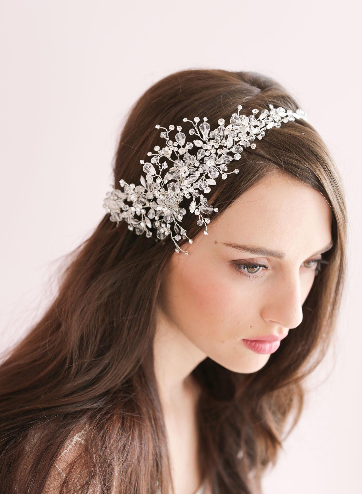 2015 handmade crystal ice bridal sparking headpiece beaded wedding