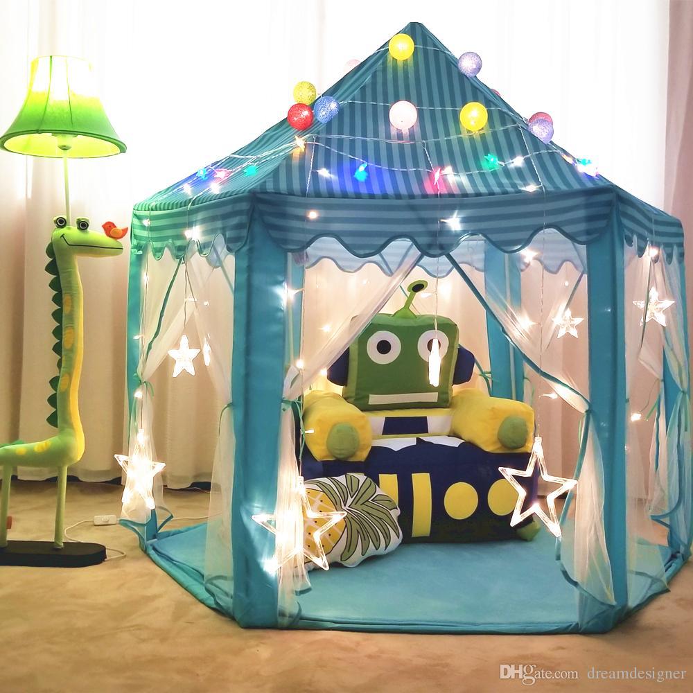 Princess Castle Play, carpas portátiles para niños, divertidas casas de juego Hexagon Girls, interiores y exteriores, 55