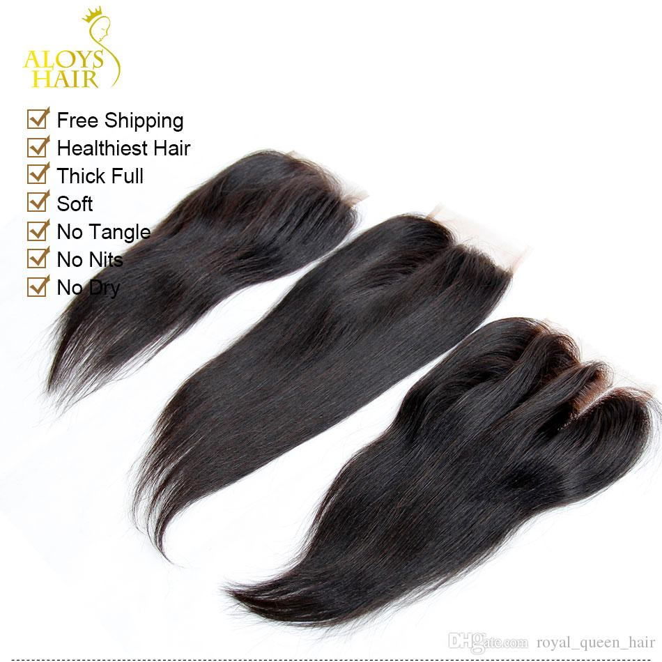 Virgin Indian Lace Closure Grade 6A Unprocessed Raw Virgin Indian Remy Human Hair Closures Straight Free/Middle/3 Part Indian Remi Closure