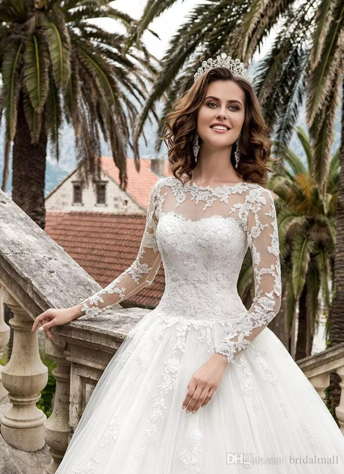 Bohomian 2020 A line Lace Wedding Dresses With Sheer Long Sleeves Country Bridal Dress Lace Up Back Custom Wedding Gowns Vestios De Novia