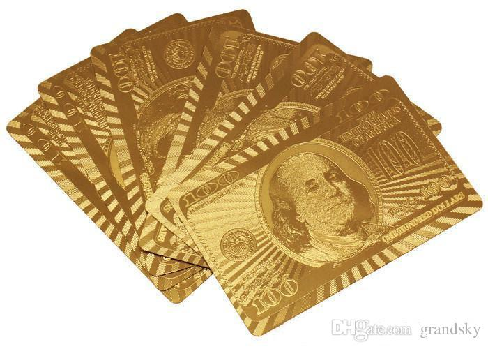 DHL Free Top Quality Gold foil plated playing cards Plastic Poker US dollar / Euro Style and General style With Certificate