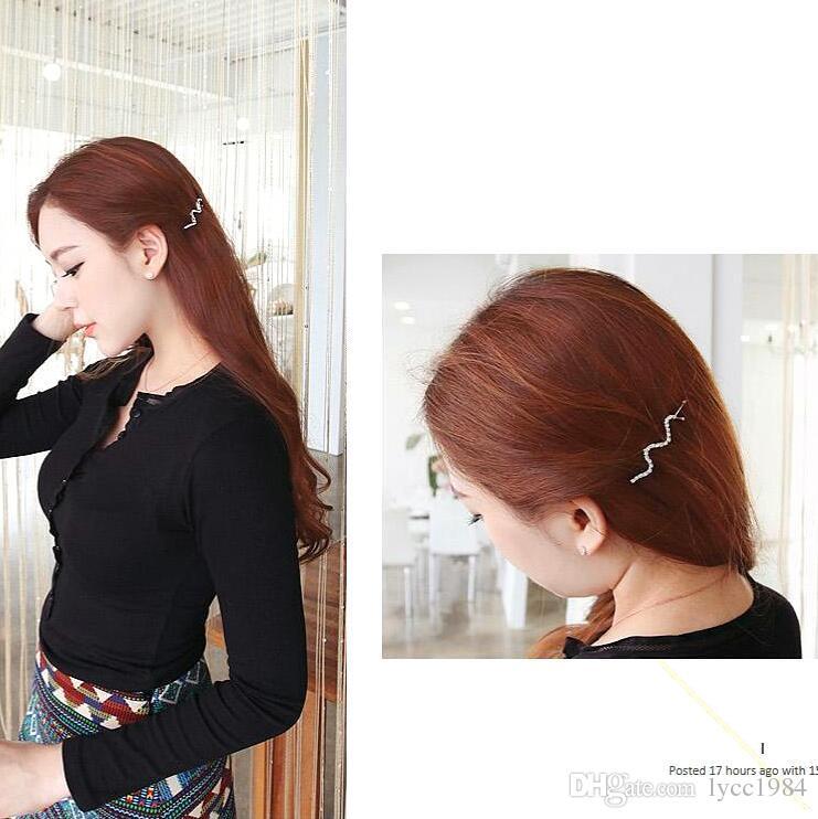 여자를위한 / 한국어 스타일 라인 석 머리카락 클립 실버 실버 머리핀 쥬얼리 바렛 머리 착용 헤어 액세서리