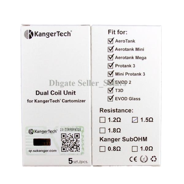 100% Original Kanger Atualizado Dual Coil Núcleo de Reposição 1.2ohhm 1.5ohm 1.8ohm Cabeça Da bobina fit Autêntico Aerotank Genitank EMOW Mega