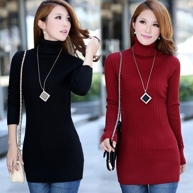 2018 Turtleneck Sweater Bodycon Dress Korean Winter Bandage Femme ...