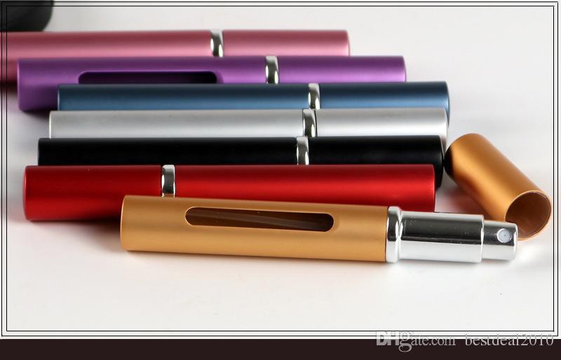 5 ml 5 cc Portable Fine Pulvérisateur Brume Bouteille De Parfum Atomiseur Vide En Aluminium Rechargeable Bouteille Spray AmoWith CLear Fenêtre En Gros