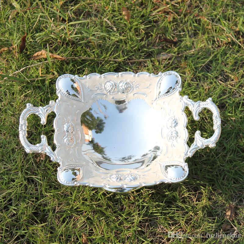 Heißer Verkauf Silber überzogene quadratische umweltfreundliche Zink-Legierung Metall Obstschale / Tablett für Heimtextilien oder KTV