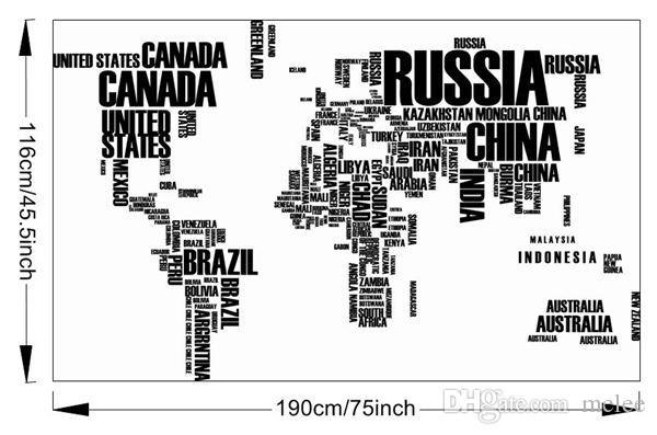 2015 Weltkarte Wandaufkleber Karte der Welt zum Lernen Studie Schwarz Wanddekor Kunst Worte Sprüche Vinyl Wandtattoos 60 * 90cm * 2 versandkostenfrei