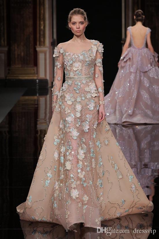 섹시한 Ziad Nakad 댄스 파티 드레스는 3D 꽃 아플리케 장식 새시 긴 소매 이브닝 가운 스윕 쉽고 얇은 보석 목 형식 정장 파티 복
