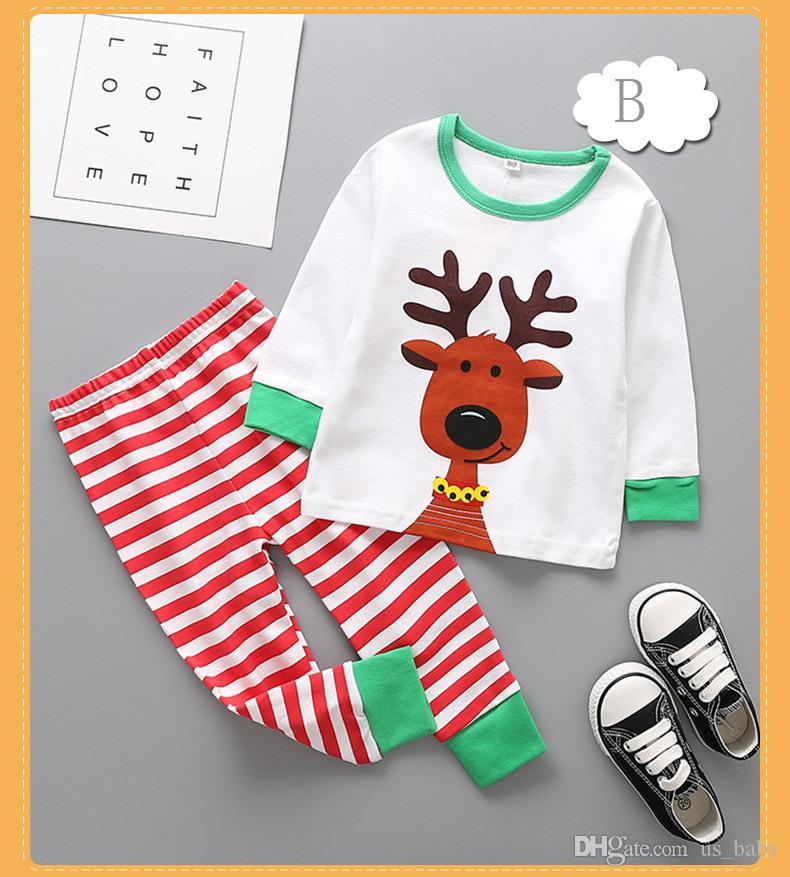 Baby Christmas elk Pajamas sets Infant Christmas Suits Santa Claus Deer Sleepwear for 2-6T Kids size choose free
