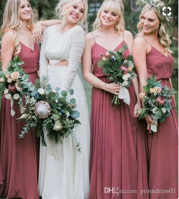 NEW ARRIVAL Spaghetti Straps Chiffon Bridesmaid Dresses Sleeveless Sweep Train Dreess for Wedding Party In Stock