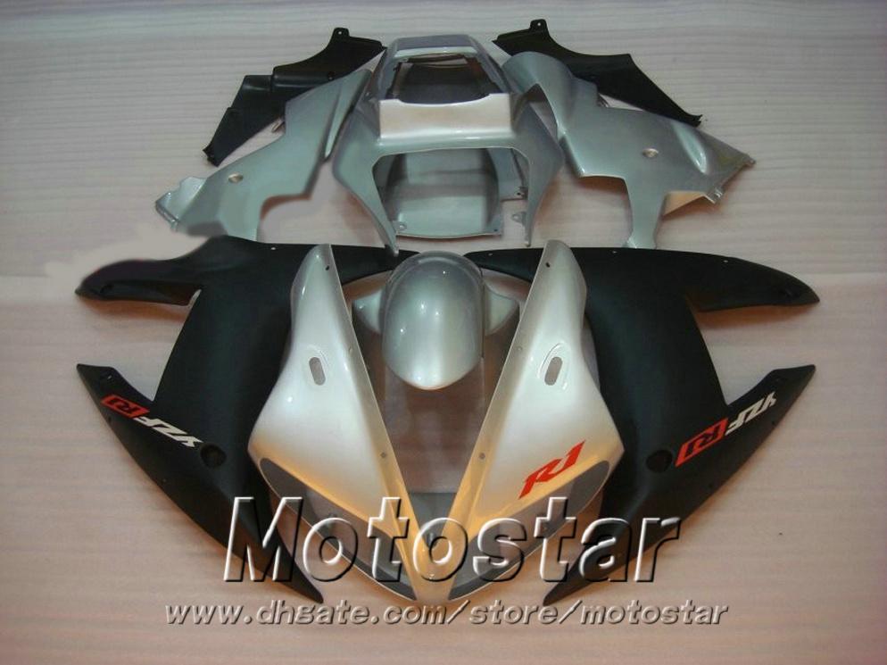 Customize injection fairings kit for YAMAHA R1 02 03 fairing body kits yzf r1 2002 2003 silver matte black motobike parts LQ34