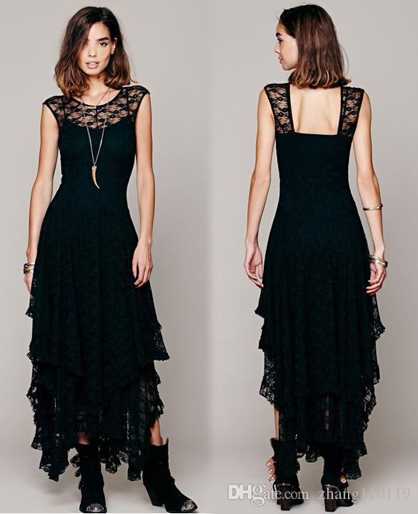 Hot Fashion Womens Hollow Full Lace Party Evening Casual Prom Elegant Maxi Slim Long Sheer Ball Gown Beach Dress free People Lace dress