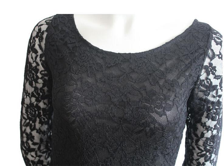 Novo 2016 Roupas Femininas Primavera Design Americano O-pescoço Sexy Fino one-piece Vestido de Renda com Três Quartos Bodycon Vestidos Casuais para mulheres