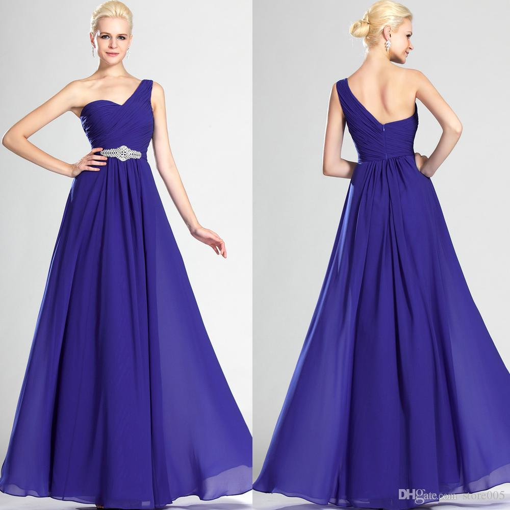 Compre 2016 Púrpura Un Hombro Formal Largo Gasa Vestido De Dama De ...