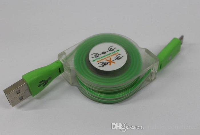 1M 3ft светодиодные Видимый Micro USB V8 кабель Выдвижной зарядки синхронизации данных Кабели усмешки Flat Лапша Синхронизировать данные для смарт-телефон