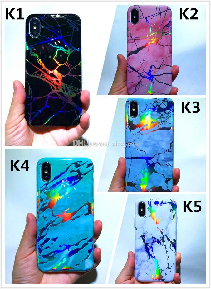 Shiny Rainbow Housing Cover Laser Plated Soft TPU Shell Phone Protective Chrome Marble Case for iPhone X 6 6S 7 8 Plus