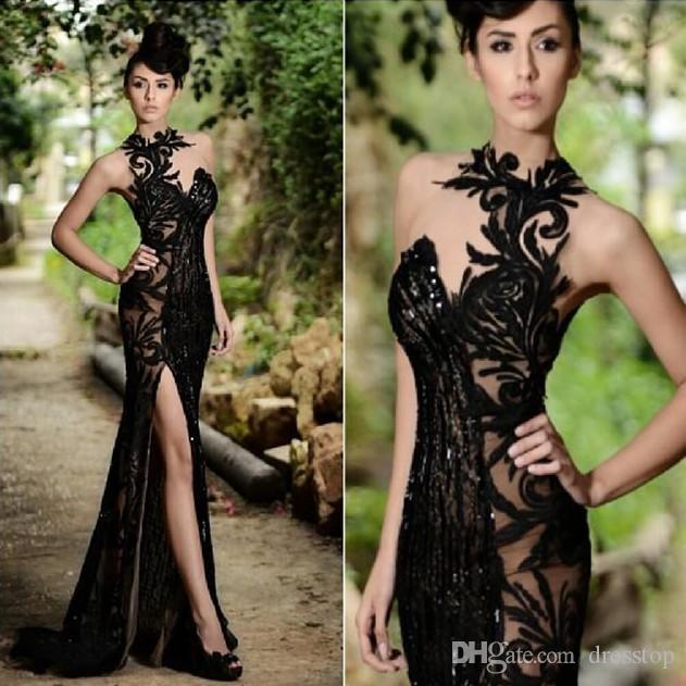 Top Selling Sequined Sheer Prom Dresses Mermaid Rami Salamoun ...