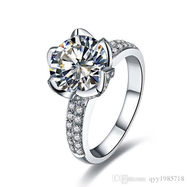 2018 1ct new design lotus flower bridal engagement ring synthetic 2018 1ct new design lotus flower bridal engagement ring synthetic diamond for women sterling silver jewelry gold plated wedding ring from qyy1985718 junglespirit Choice Image