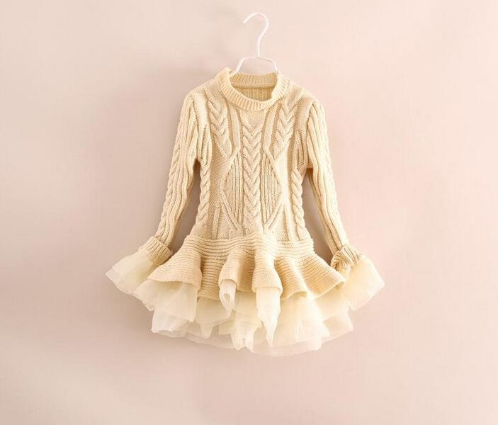 28269cfc4bfa86 2019 Wholesale Kids Girls Knit Sweater Dresses Baby Girl Tulle Lace TUTU  Autumn Winter Princess Jumper Pullover Dress From Choicegoods521