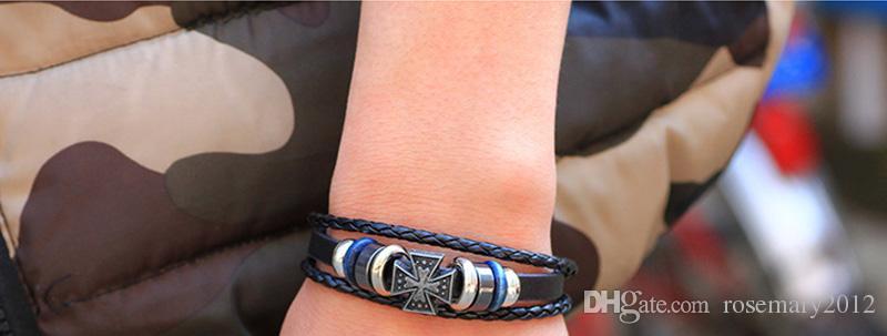 Braccialetti a mano incrociati incrociati a mano semplice braccialetti in pelle intrecciata semplice gli uomini donne catene a mano braccialetto braccialetto gioielli all'ingrosso
