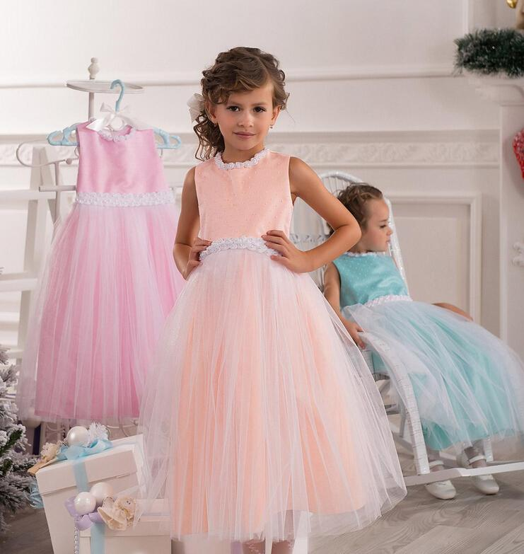 Colorful Pearls Tutu Ball Gown Tulle Baby Girl Birthday Party Christmas Princess Dresses Children Girl Party Dresses Flower Girl Dresses