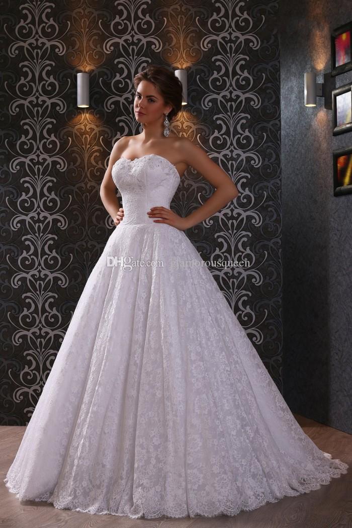 최고 판매 라인 Sweetheart 층 길이 화이트 레이스 웨딩 드레스는 저렴한 가격으로 신부 드레스를 판매합니다. vestido de noiva