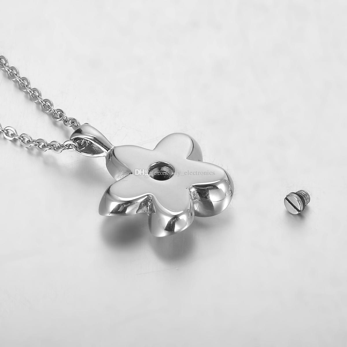 Lily Stainless Steel Petite Flower Remembrance Cremation Jewelry Ashes Pendant Keepsake Memorial Urn Necklace with Gift Bag And Chain