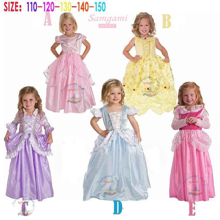 girls cinderella princess dress kids girl Rapunzel belle fairy tale  character costumes princess ball gown dress free shipping