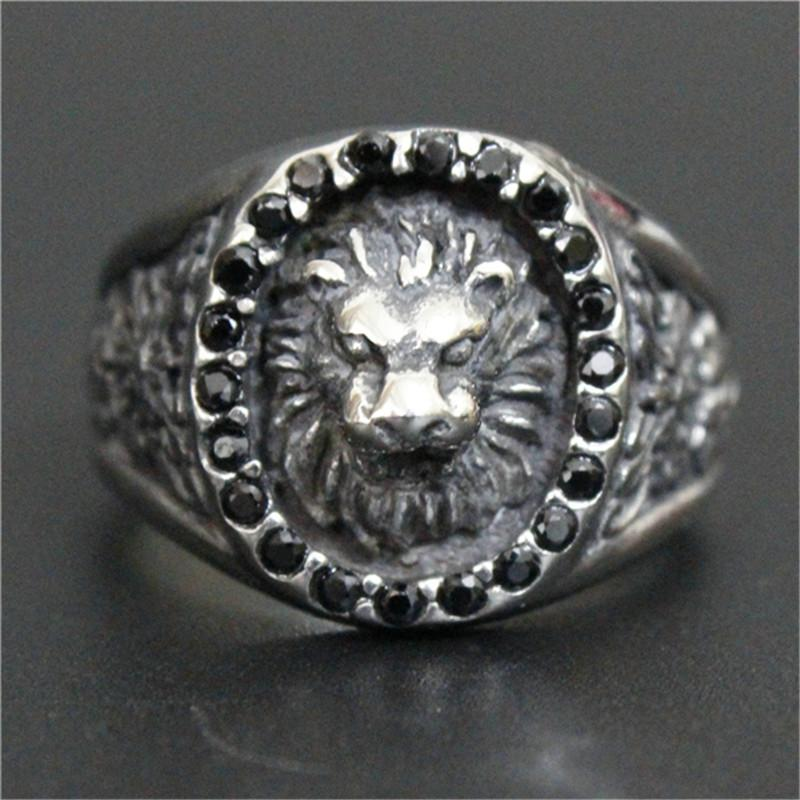 3pc/lot Size 8-13 New Arrival Crystal Lion King Ring 316L Stainless Steel Top Quality Men Boy Fashion Jewelry Popular Lion Ring