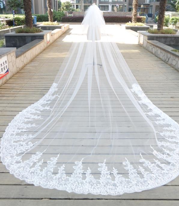 3m * 4m 성당 웨딩 베일 2 층 흰색 아이보리 블링 블링 스팽글 화이트 아이보리 레이스 얇은 명주 그물 사진 웨딩 드레스 베일