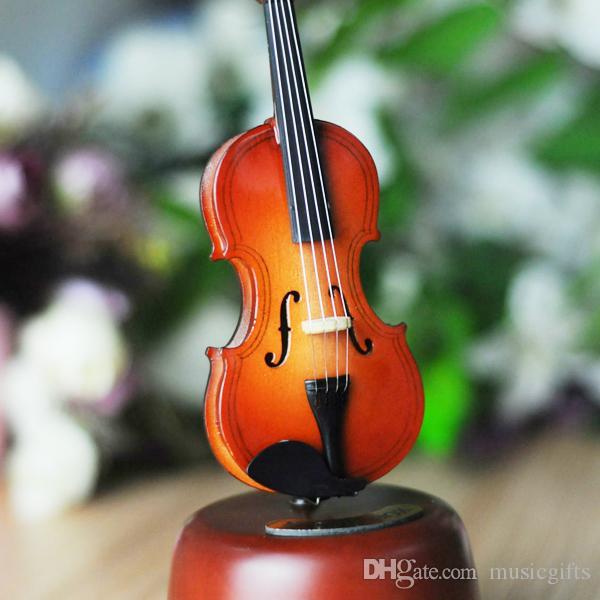 Вуд Классический ветер Up Скрипка Music Box с вращающейся музыкальной коробкой