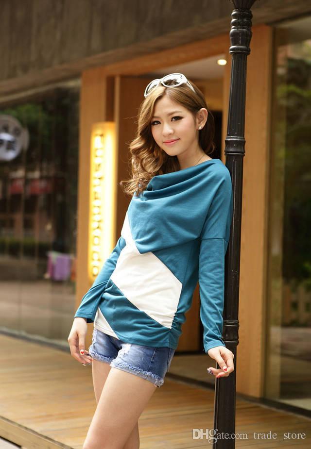 2017 jesień Koszulki Trójniki Moda Kobiety Koszulki Odzież Luźna Z Długim Rękawem Szycie Paski Knitwear Pullover Dla Damskich Topów T Koszula A41