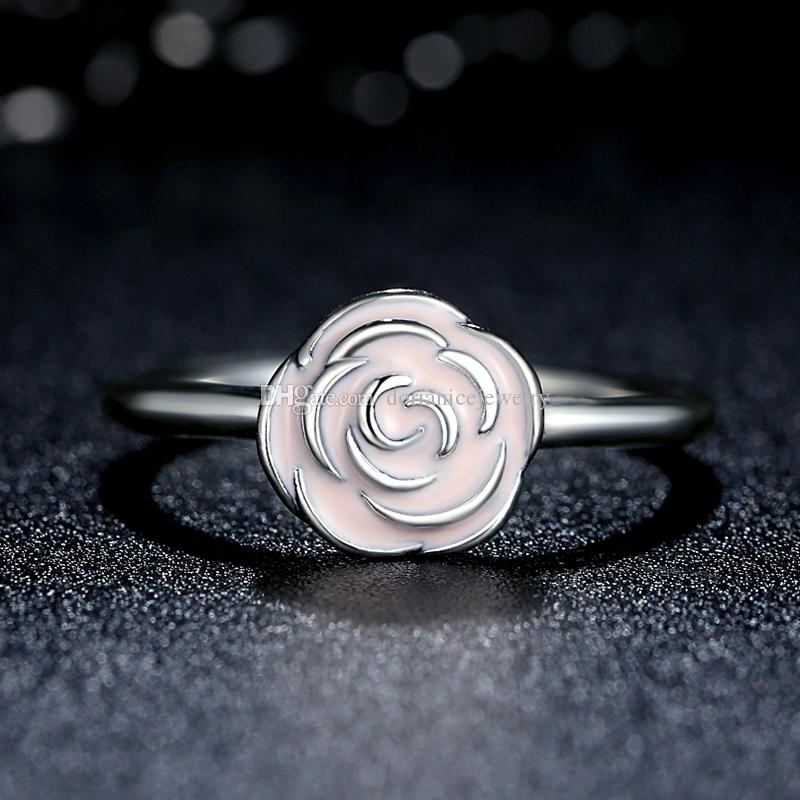 be2e403aa ... spain rose garden sterling silver rings with pink enamel elegant pandora  style promise wedding rings for