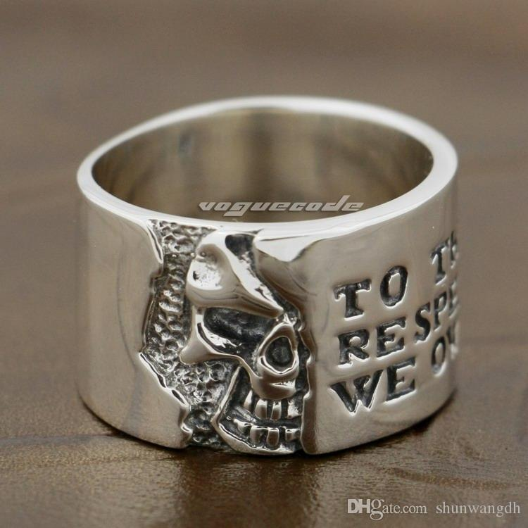925 Sterling Silver Motto On Wide Skull Mens Rocker Punk Ring 8Y006 US 7.5~10